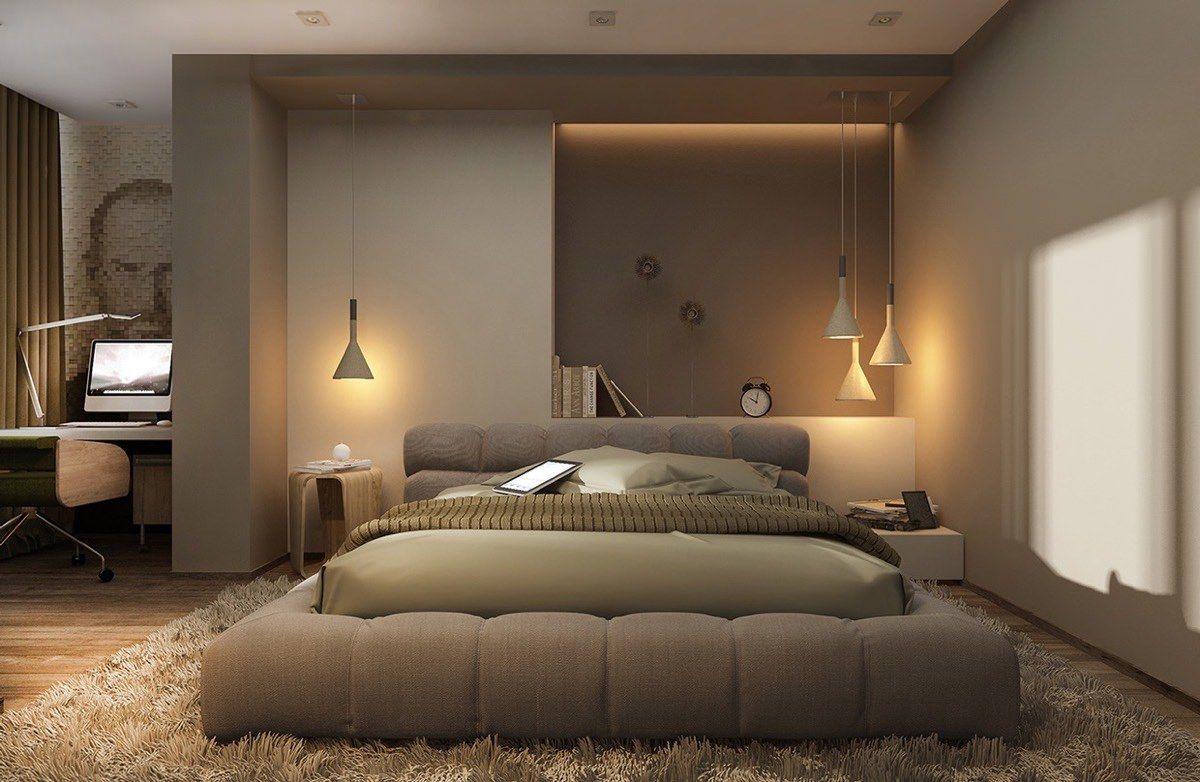 Hängeleuchte indirekte Beleuchtung stilvolles Schlafzimmer beige