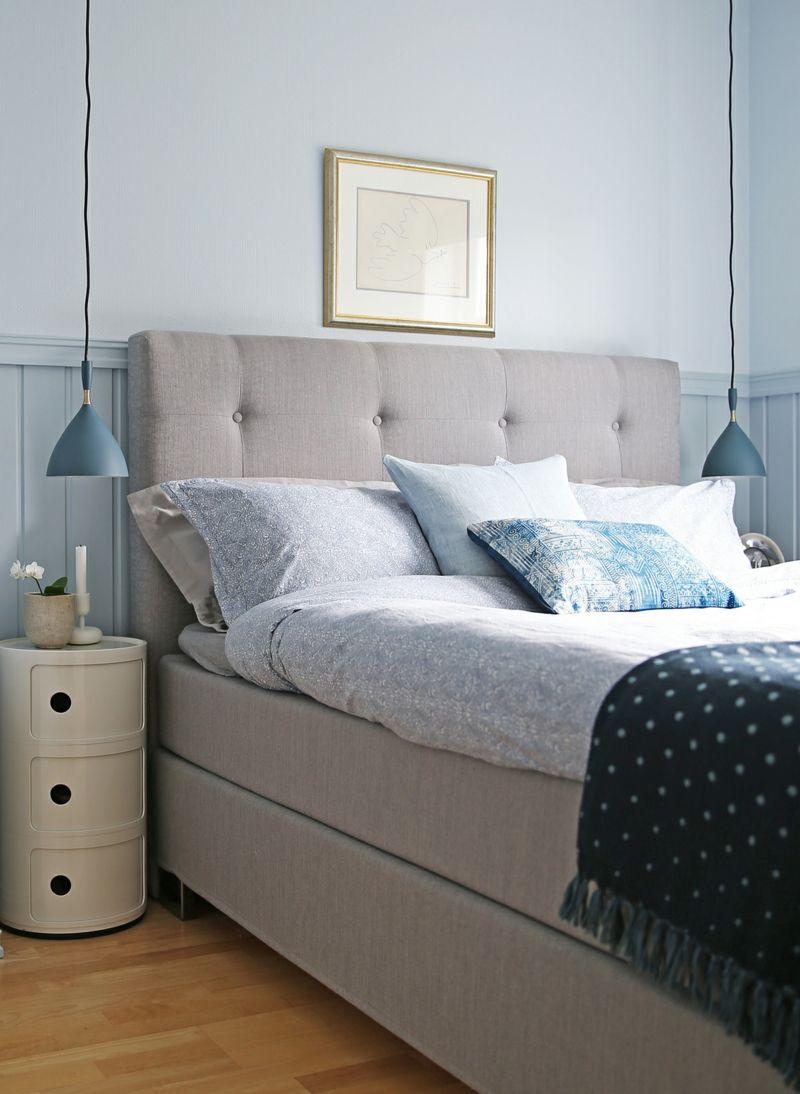 Hellblau passt gut im Schlafzimmer