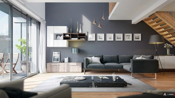 modernes wohnzimmer mit coolen und klaren linien. Black Bedroom Furniture Sets. Home Design Ideas