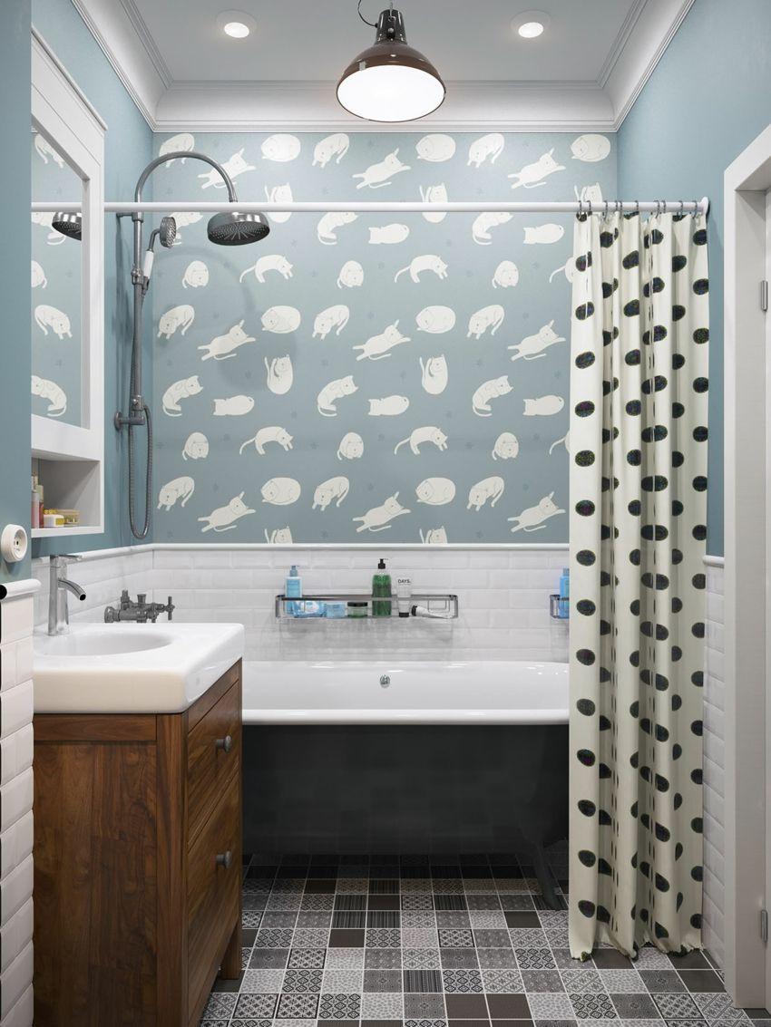 Jugend-Style Skandinavisch Bad Wanne schwarze Punkte Dusche graue Fliesen