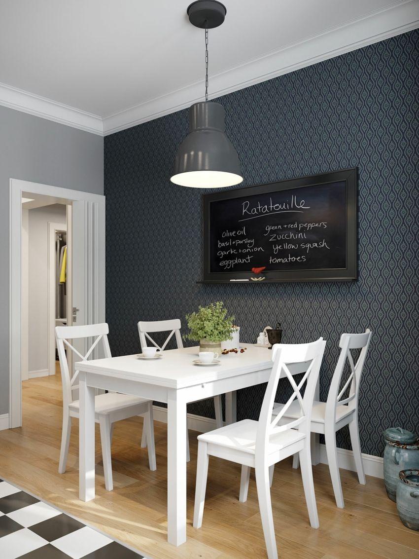 Jugend-Style Skandinavisch Esstisch Stühle Hängelampe schwarze Tafel Echtholz weiß geometrisch