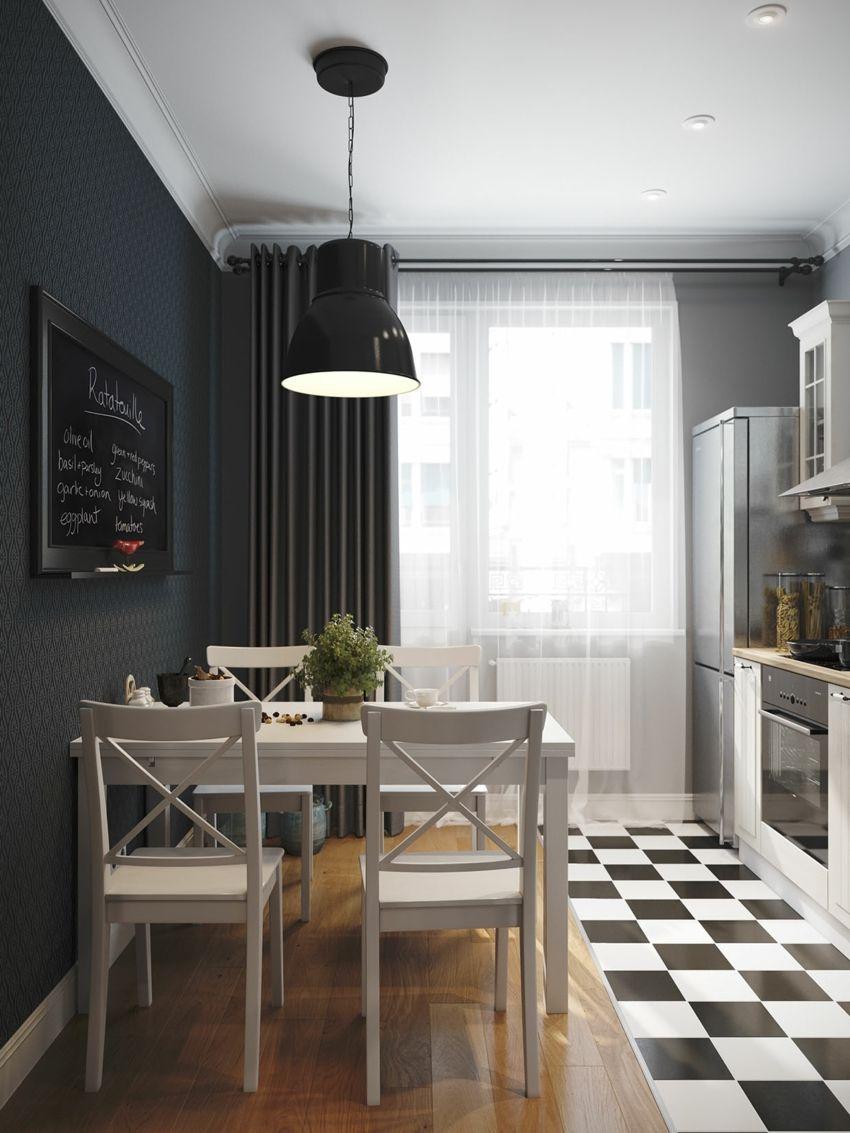 Jugend-Style Skandinavisch Esszimmer Gardinen Vorhang Fliesen Hängelampe weiß schwarz Interieur
