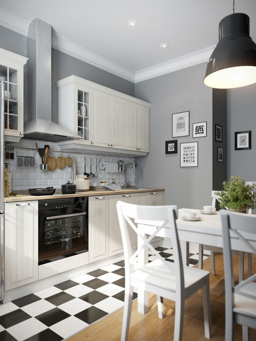 Jugend-Style Skandinavisch Küche Fliesen Esszimmer Möbel in weiß Holz