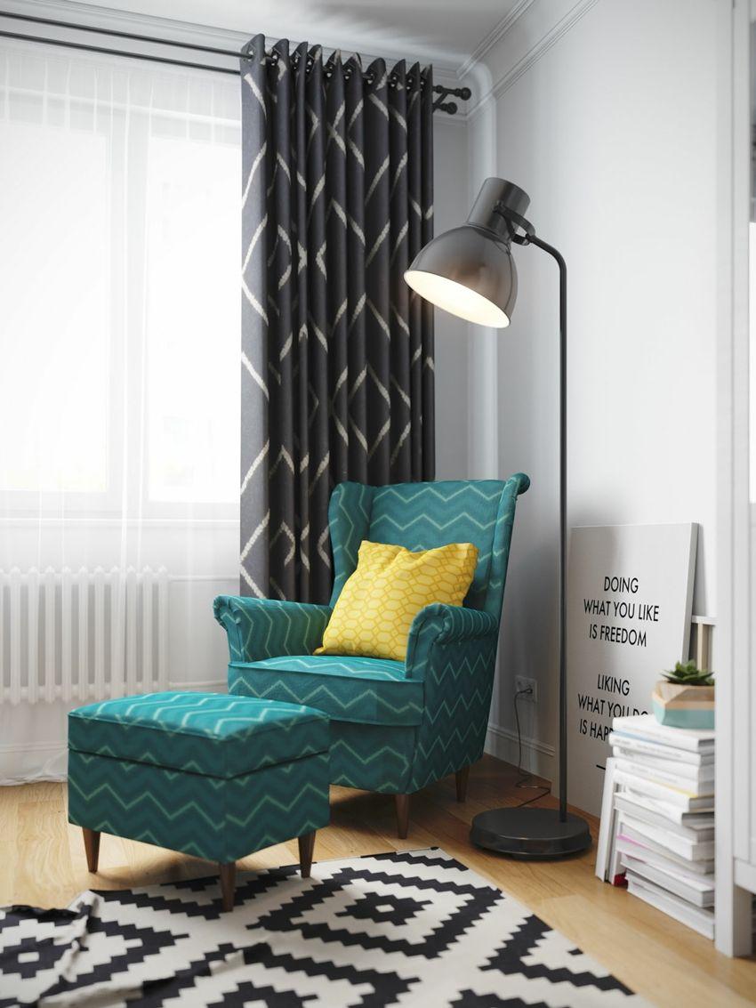 Jugend-Style Skandinavisch Stehelampe Sessel Hocker Türkis Musterteppich Gardinen