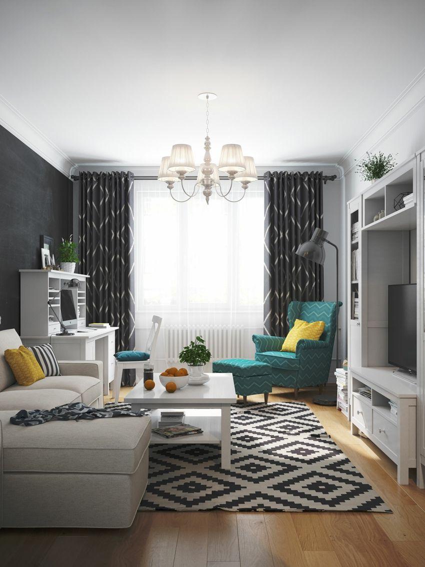 Jugend-Style Skandinavisch geometrisch Teppich weiß Türkis Sessel Sofa
