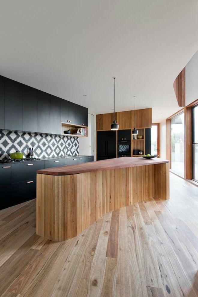 Küche Einrichtung kurvig Insel Echtholz schwarz weiß