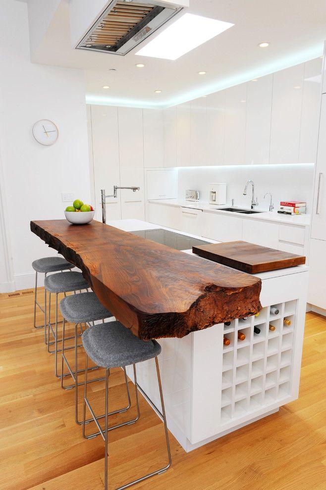 Küche Interieur Design Kücheninsel Barhocker Küchenplatte schäbig Holz weiß