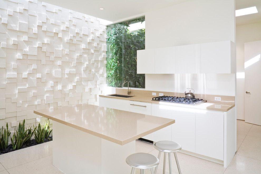 Küche Interieur Design Reliefwand 3D Gestaltung weiß Zimmerpflanze