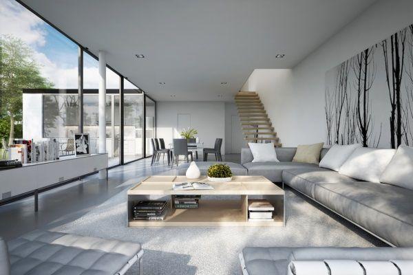 Ein geräumiges Wohnzimmer mit großen Panoramafenstern