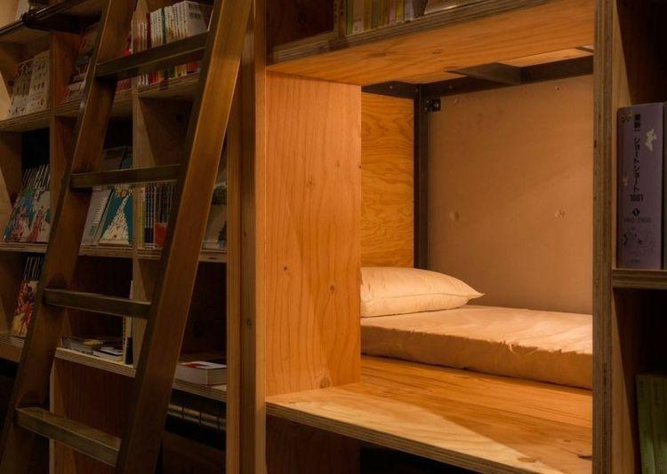 Modern Design Hostel Tokio Bibliotek Bücherregal Schlafkabine