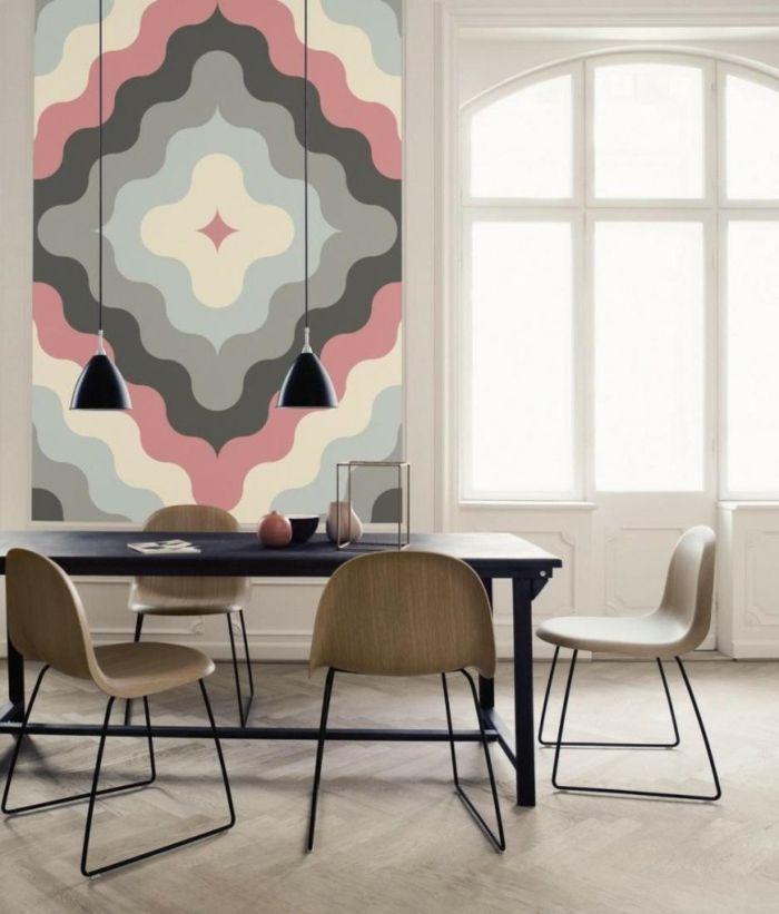 Pastelltöne Farbgestaltung Inneneinrichtung Esstisch Sitzmöbel Wandbild schwarz Holz
