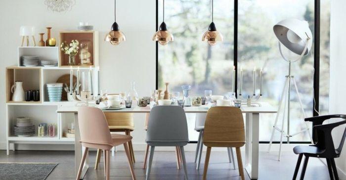 Pastelltöne Farbgestaltung Inneneinrichtung Esszimmer Dekoration Kupfer Pendelleuchte Hängeleuchte