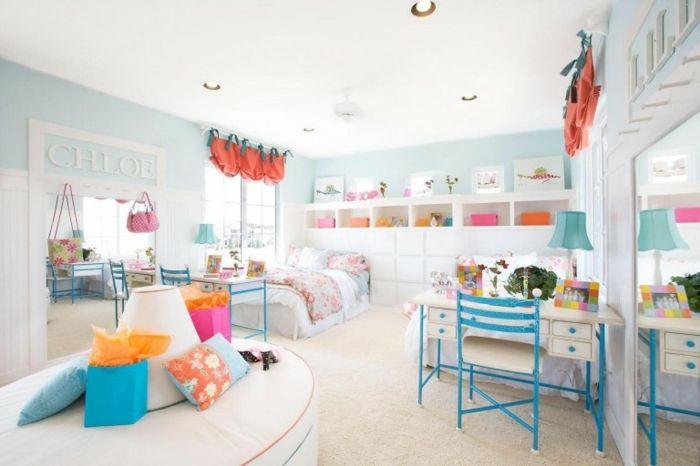 Pastelltöne Farbgestaltung Inneneinrichtung bunte Akzente Kinderzimmer jugedlich blau