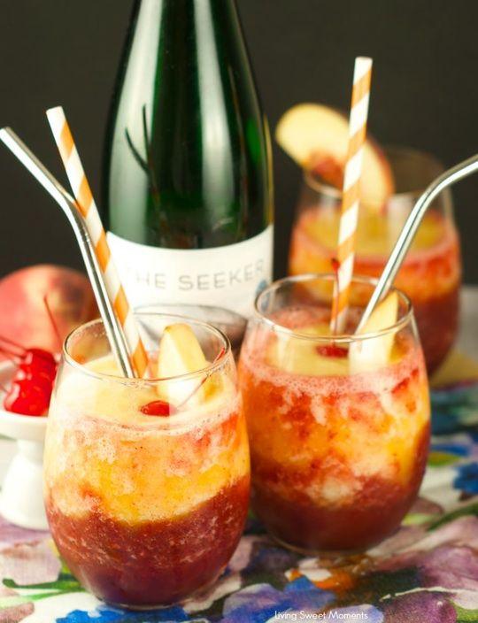 Pfirsich-Kirschen-Riesling-Slushy Party Flasche Sommer