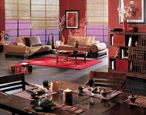 Rot, Lavender und Holzmöbel für das gemütliche Feng Shui Wohnzimmer-Elemente in Feng Shui