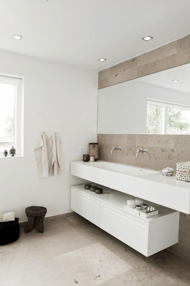 Schrank hängend weiß Spiegel groß Bad Einbaustrahler Waschbecken