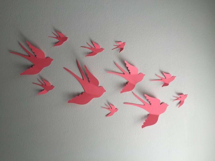 Schwalben-Origammi als Wanddekoration-Schöne Vogelaccessoires