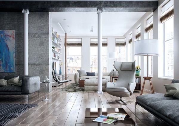 Der Bodenbelag aus echtem Holz ist für das Wohnzimmer einfach perfekt