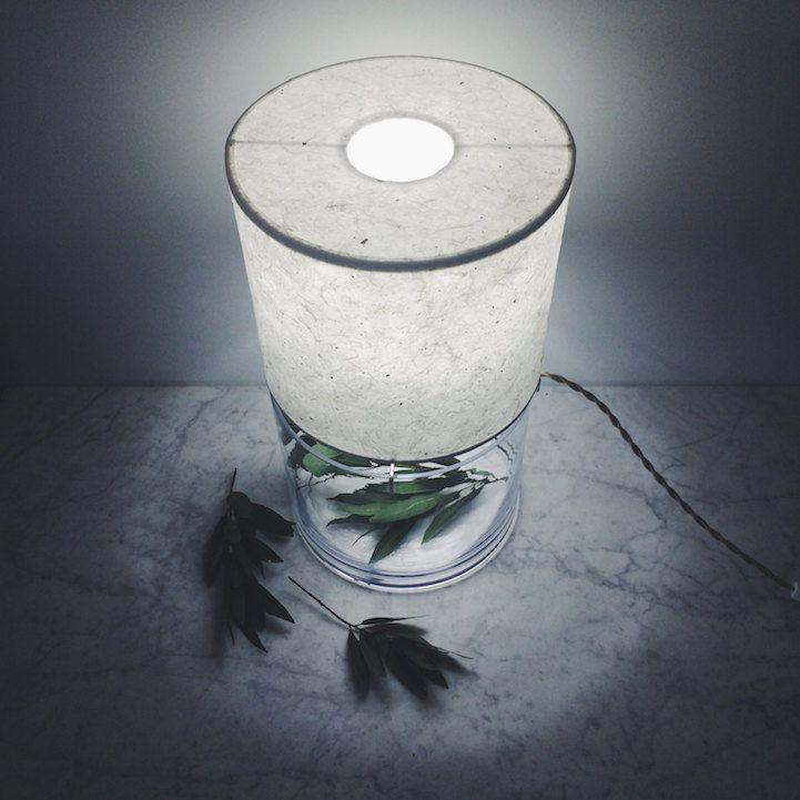 Terrarium minimalistisch Design Tischlampe Lampenschirm handgemachte Papier