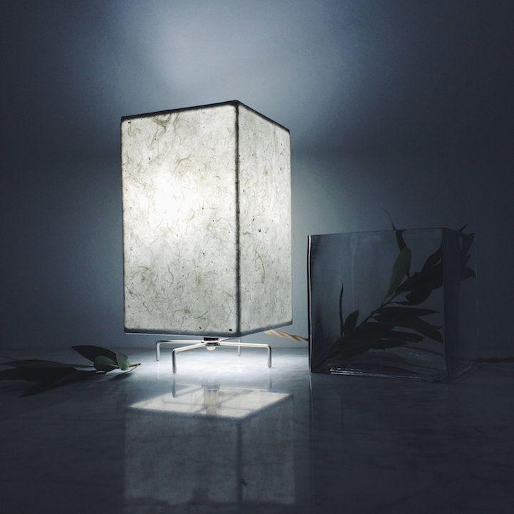 Terrarium minimalistisch Design Tischlampe breit Deko handgemachte Papier