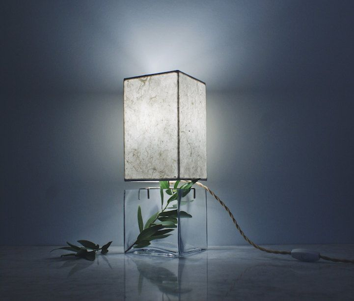 Terrarium minimalistisch Design Tischlampe recheckig Akzent Interieur Deko Büro Office