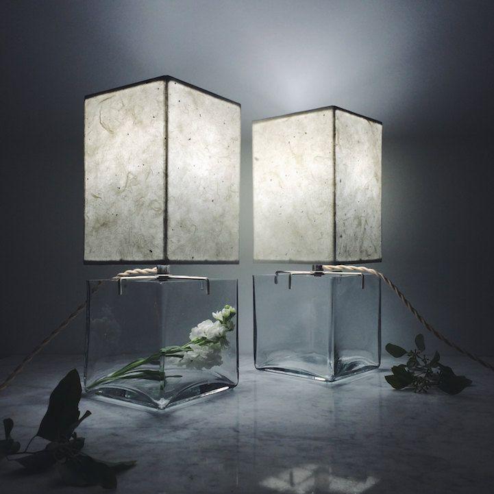 Terrarium minimalistisch Design Tischlampe rechteckig Interieur Deko Businessgeschenk