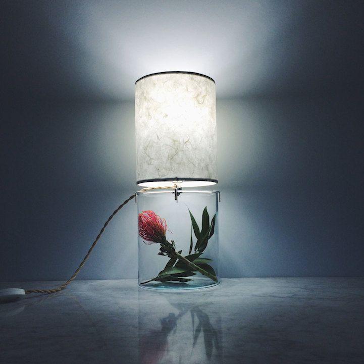 Terrarium minimalistisch Design Tischlampe rund Blume Dekoration