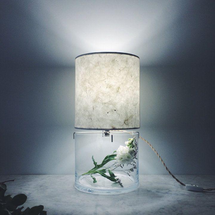 Terrarium minimalistisch Design Tischlampe rund Pflance Deko