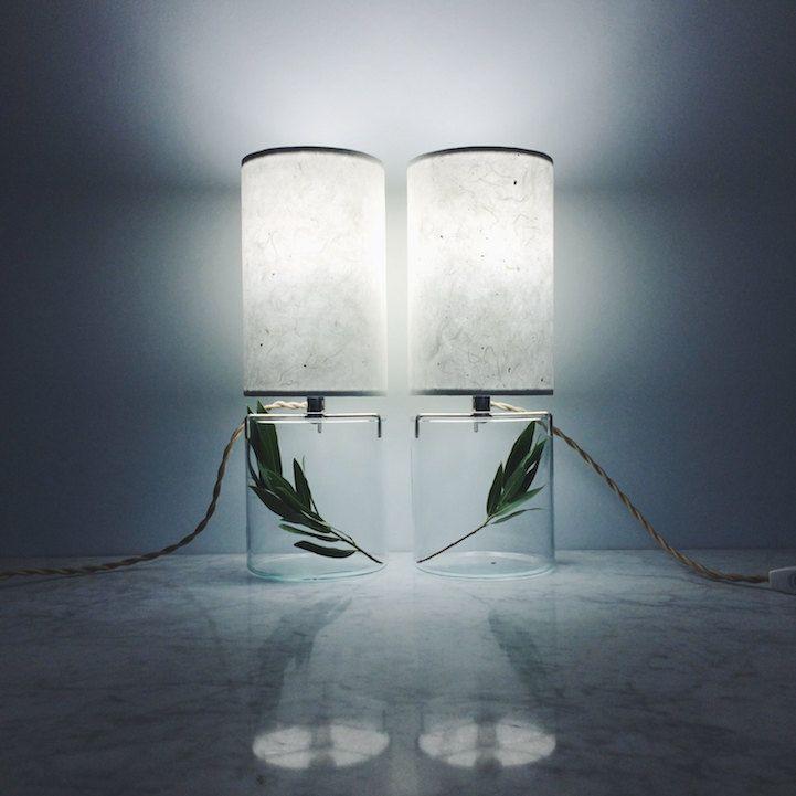 Terrarium minimalistisch Design Tischlampe zweier Set Dekoration