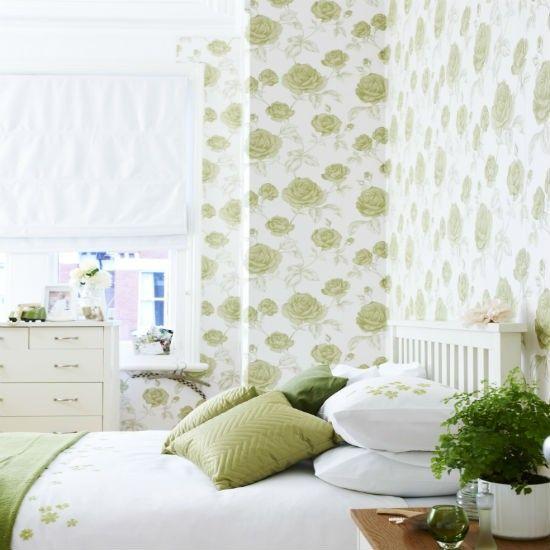 Frische Tapeten mit großen Rosen in Limettengrün