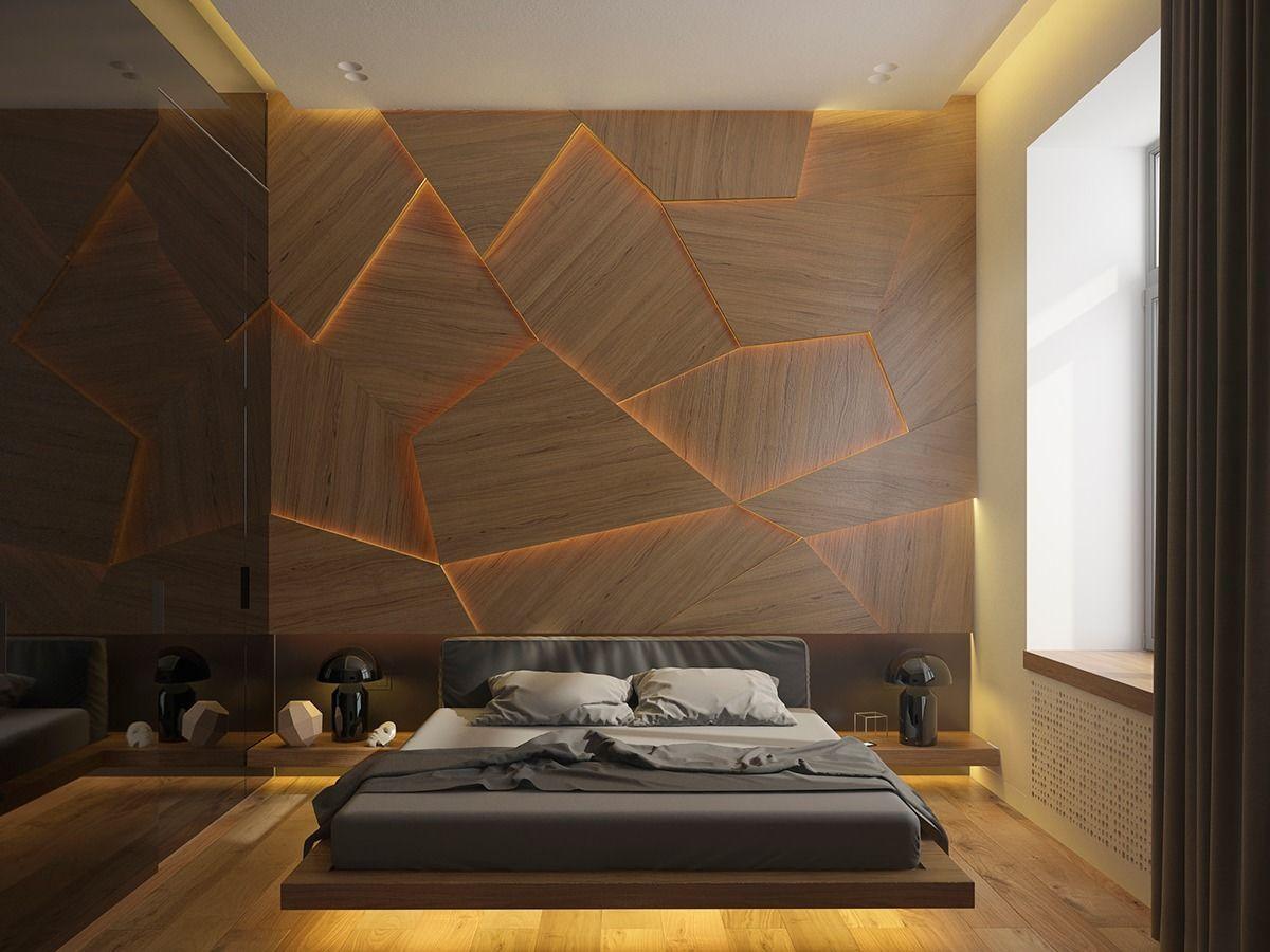 Trendige Holzwandgestaltung, wohin sich das indirekte Licht ideal einschreibt
