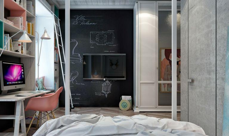 Wandgestaltung Wohnideen Design Kreidebrett Tafel Schwarz Jugendzimmer  Kinderzimmer Design