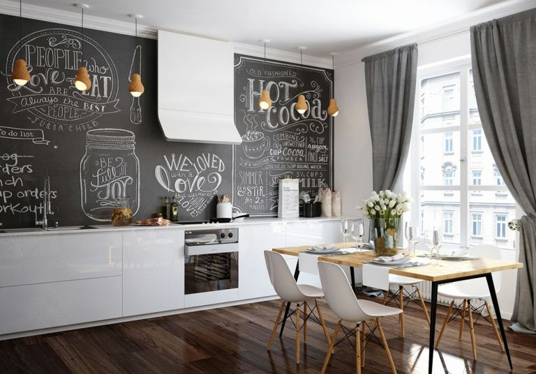 Wandgestaltung Wohnideen Design Kreidebrett Tafel schwarz Küche Vorhänge