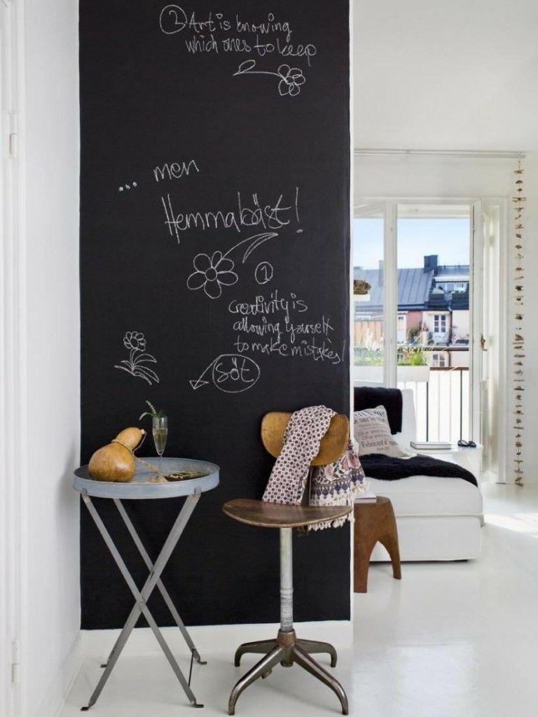 Wandgestaltung Wohnideen Design Kreidebrett Tafel schwarz Klapptisch Malerei