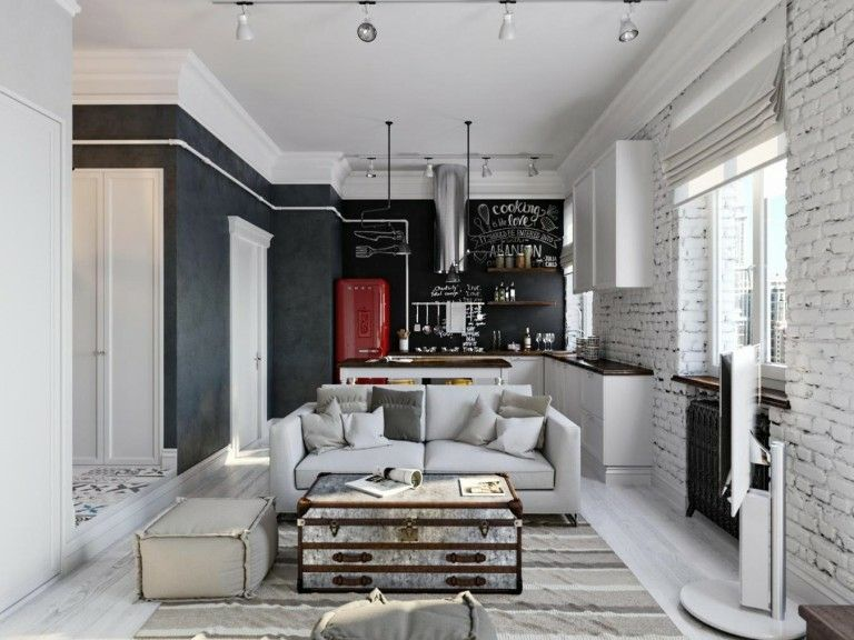 Wandgestaltung Wohnideen Design Kreidebrett Tafel schwarz Wohnzimmer Küche Ziegelwand