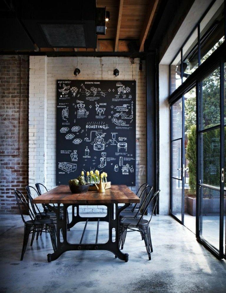 wohnzimmer ziegelwand: Wohnideen Design Kreidebrett Tafel schwarz Wohnzimmer Ziegelwand weiß