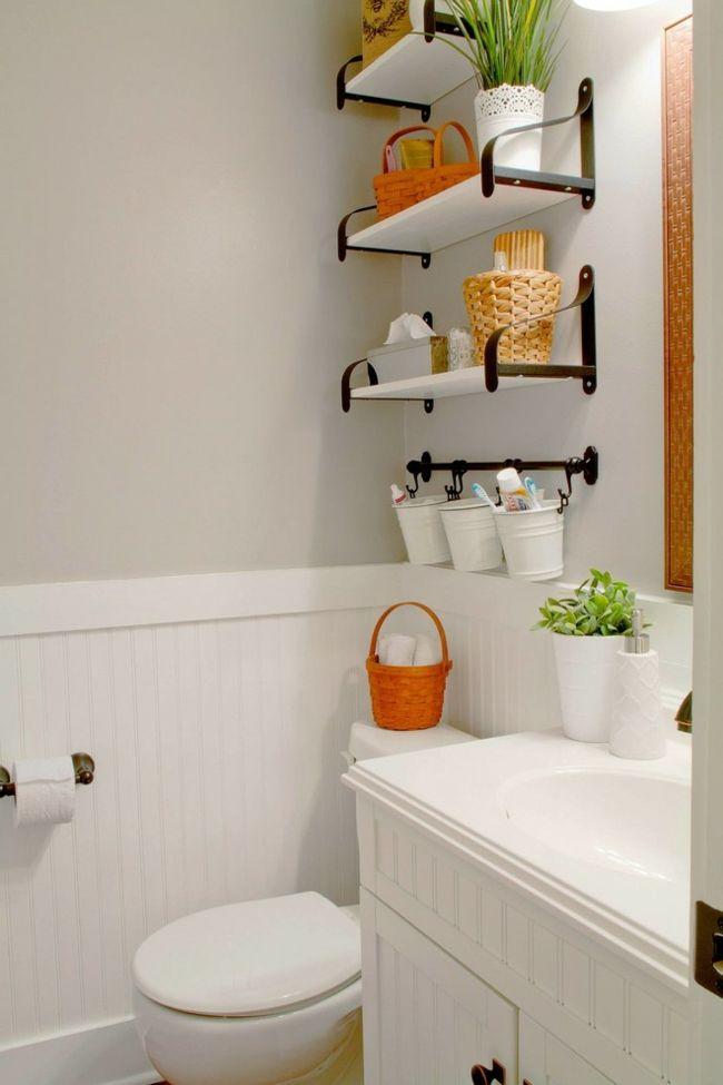 Waschbecken Einbau Toilette Regale stilvoll trendig