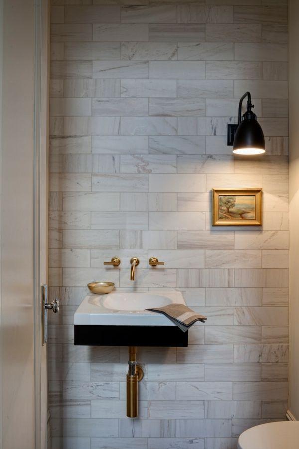 Waschtisch Toilletentisch Waschbecken modern Luxus Messinghahn Marmor