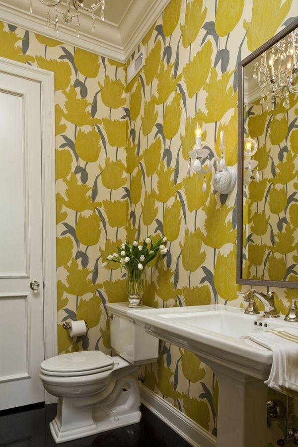 Waschtisch Toilletentisch Waschbecken modern Luxus Tapete Blumen-Print gelb weiß