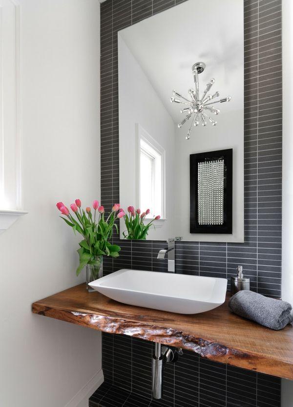 Waschtisch Toilletentisch Waschbecken modern Luxus schäbig Naturholz Spiegel