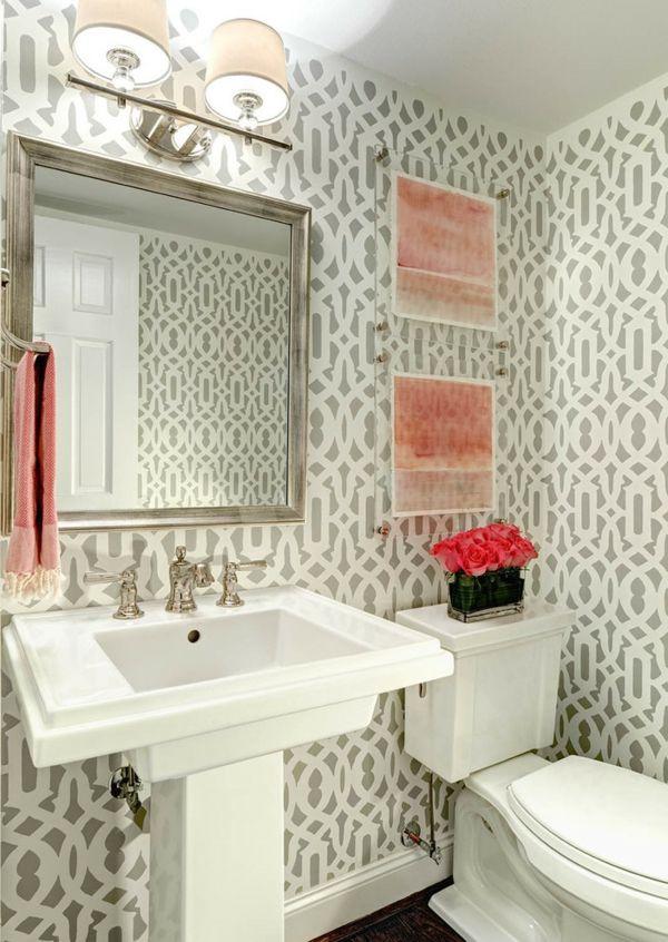 Waschtisch Toilletentisch Waschbecken modern Luxus weiß Gemälde Spiegel Rosen