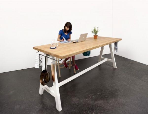 Wohnidee Küche Esstisch Eichenplatte Kochen Moritz Putzier stillvoll designerisch