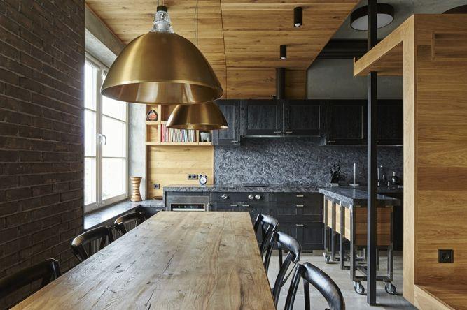 Wohnidee trendig industriell Eiche Schubkästen Alexey Rozenberg Esszimmer Esstisch massive Holzplatte