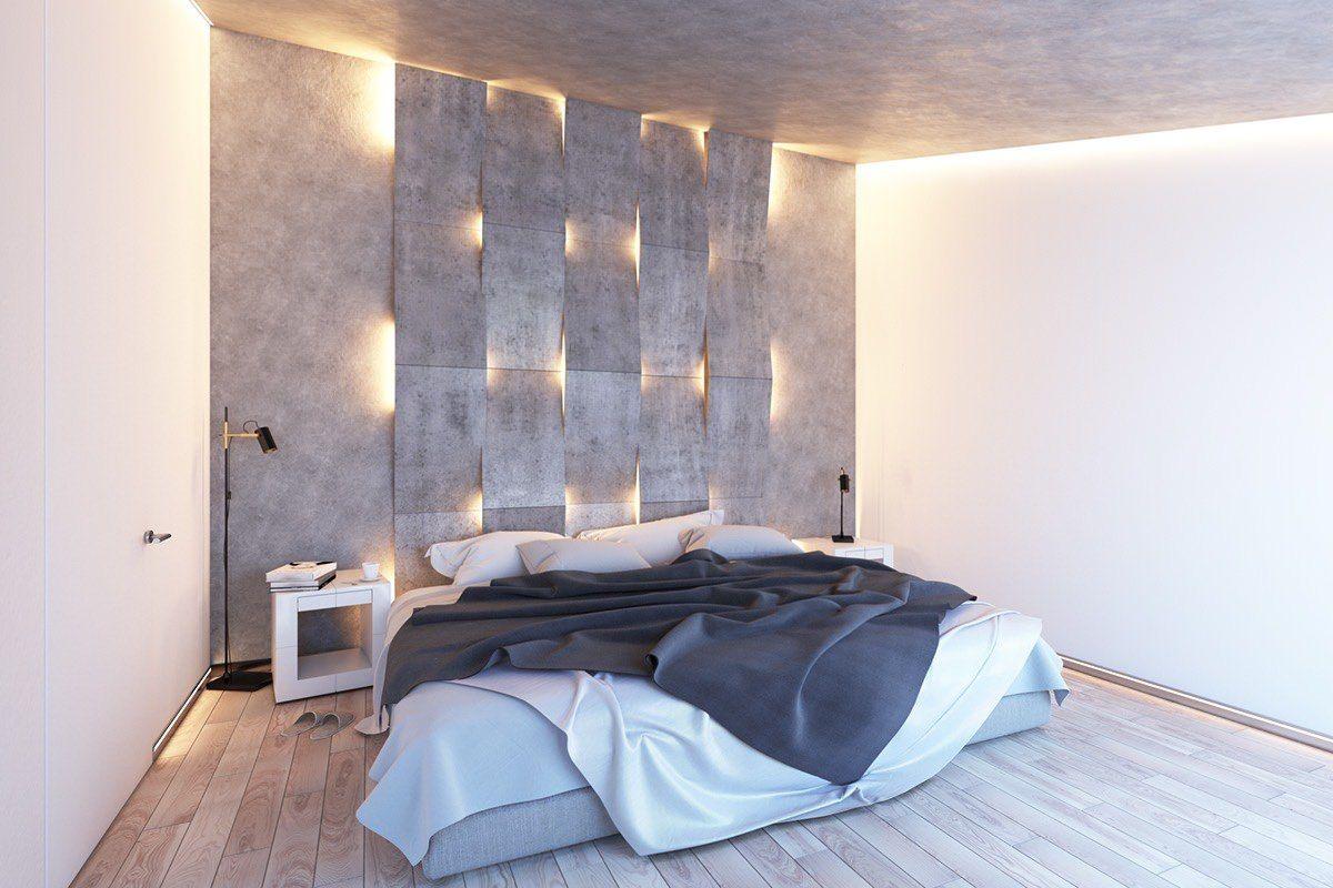 Ein modernes Schlafzimmer in sanftem Schein