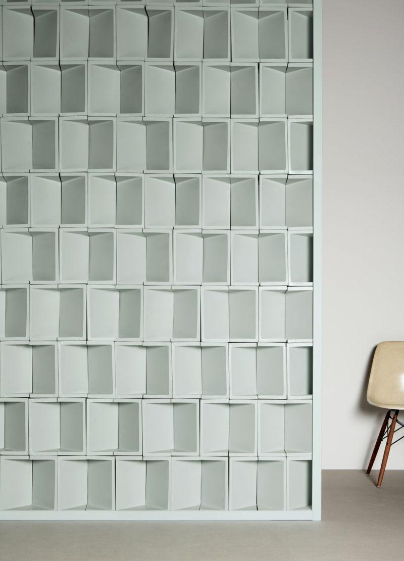 weiße MUTINA 3-D designerische Fliesen Reliefwand