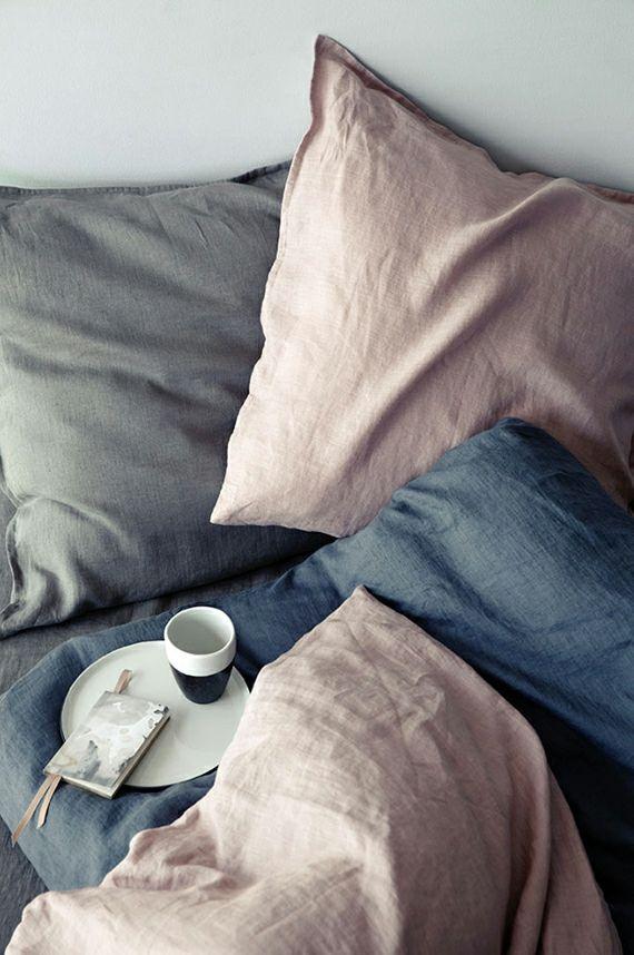 Bettwäsche in Pastelltönen Kaffee im Bett Interieur modern