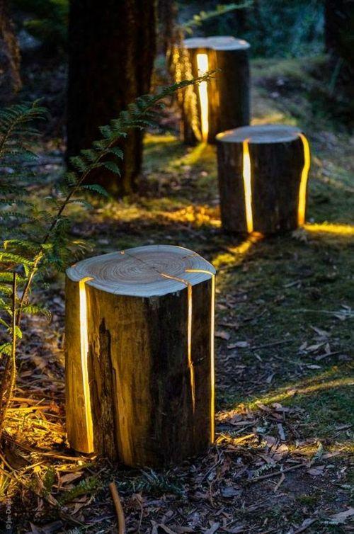 DIY Lichtkörper im Garten Holz