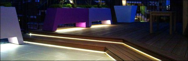 Energiesparende und langlebige Lichtleitfasern und LED auf der Terrasse
