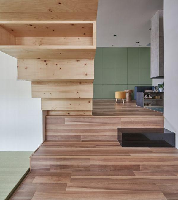 Flur Aufbewahrungsfläche Treppe Nagelholz kleine Wohnung