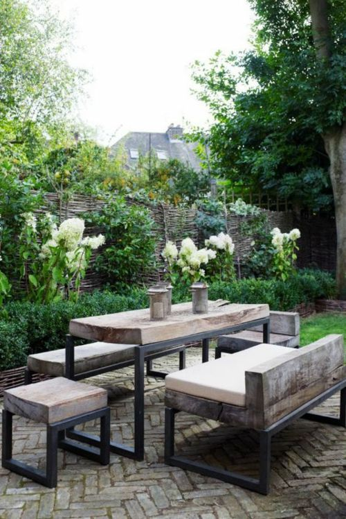 Garten industrieller Stil Hocker Sitzbank Tisch Gartenmöbel